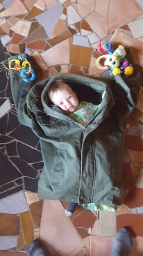 I'm so big I fit into Daddy's jacket