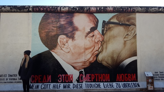 The famous kiss: East Side Gallery art